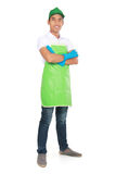 Portrait of young man ready to do some cleaning. Portrait of young man wearing glove ready to do some cleaning Royalty Free Stock Photo