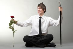 Portrait young man and rose enamoured love Royalty Free Stock Photo