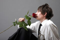 Portrait young man and rose enamoured love Royalty Free Stock Photos
