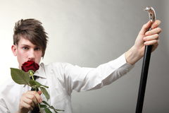 Portrait young man and rose enamoured love Stock Photo