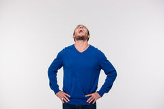 Portrait of a young man screaming stock photo