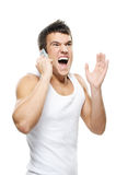 Portrait of young man shouting on Royalty Free Stock Photography