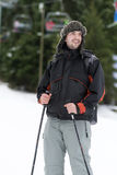 Portrait of  a Young man skier on the ski slope Stock Photos