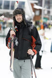 Portrait of  a Young man skier on the ski slope Stock Photography