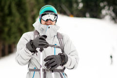 Portrait of  a Young man skier on the ski slope.Ski outfit Royalty Free Stock Photos