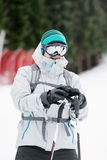 Portrait of  a Young man skier on the ski slope.Ski outfit Royalty Free Stock Image