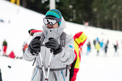Portrait of  a Young man skier on the ski slope.Ski outfit Stock Photography