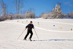 Portrait of young man, skiing in mountain winter resort Royalty Free Stock Image