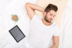 Portrait of young man sleeping Royalty Free Stock Photo