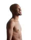 Portrait of a young man smiling with no shirt. Profile portrait of a young man smiling with no shirt isolated on white background Stock Images