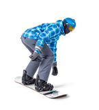 Portrait of young man in sportswear with snowboard royalty free stock photography