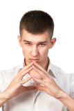 Portrait of young man standing  isolated on white. Background Stock Photography
