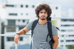 Portrait of young man standing on terrace Stock Photography