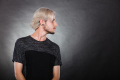 Portrait young man with stylish haircut Stock Images