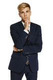 Portrait of young man in suit Royalty Free Stock Photo