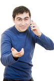 Portrait young man talking on cell phone Royalty Free Stock Image