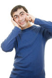 Portrait young man talking on cell phone Royalty Free Stock Photos