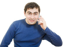 Portrait young man talking on cell phone Royalty Free Stock Photo