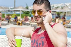 Portrait of young man talking on the phone Royalty Free Stock Photos