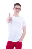 Portrait of young man thumbs up isolated on white Stock Images
