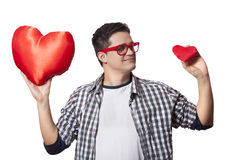 Portrait of a young man with two heart shape Royalty Free Stock Image