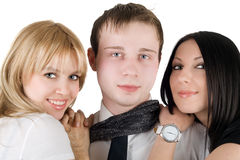 Portrait of the young man and two women Royalty Free Stock Photography