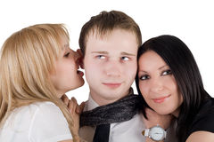 Portrait of the young man and two young women Stock Photo