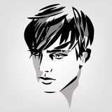 Portrait of young man. Vector monochrome portrait of young man Stock Image