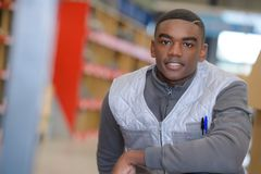 Portrait young man warehouse worker Royalty Free Stock Image