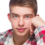 Portrait of a young man, he is wearing checkered pattern shirt Royalty Free Stock Photography