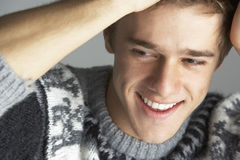 Portrait Of Young Man Wearing Jumper Stock Images