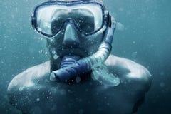 Underwater portrait of freediver man. royalty free stock image