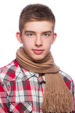 Portrait of a young man, he is wearing shirt and neckcloth.  Royalty Free Stock Image