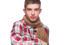 Portrait of a young man, he is wearing shirt and neckcloth.  Royalty Free Stock Photography