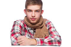 Portrait of a young man, he is wearing shirt and neckcloth.  Royalty Free Stock Images