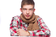 Portrait of a young man, he is wearing shirt and neckcloth Royalty Free Stock Image