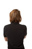Portrait young man on white, back Stock Image