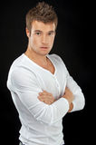 Young man in white shirt Royalty Free Stock Images