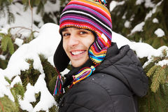 Portrait of a young man in winter Royalty Free Stock Photos