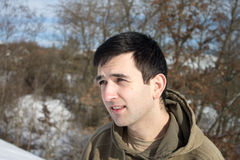 Portrait of a young man at winter Royalty Free Stock Photos