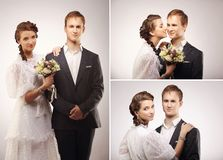 Portrait of young man and woman retro wedding collage Stock Photos
