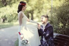 Portrait of young man and woman retro wedding Royalty Free Stock Photo