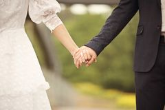 Portrait of young man and woman retro wedding Stock Photos