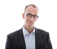 Portrait of a young manager isolated with suit and glasses Royalty Free Stock Image