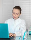 Portrait of young medic or scientist working on portable compute Royalty Free Stock Image