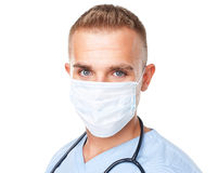 Portrait of young medical doctor in mask Royalty Free Stock Photos
