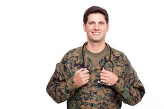 Portrait of a young military doctor with stethoscope Royalty Free Stock Photo