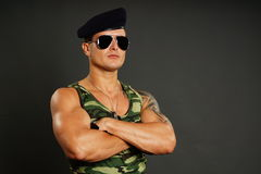 Portrait of young military man Stock Image