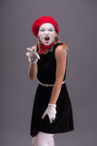Portrait of young mime girl with white face Royalty Free Stock Photos