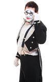 Portrait of young mime on glasses Stock Photos